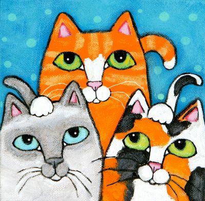 We Three Cats Mixed Media at ArtistRising.com