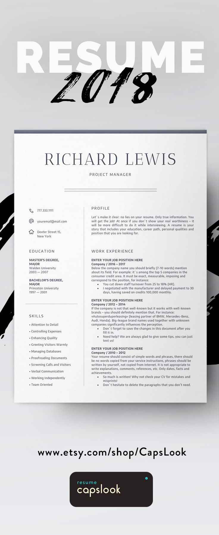 How To Create Resume In Word Amusing Modern Resume Template Cv Template  Cover Letter  Professional And .