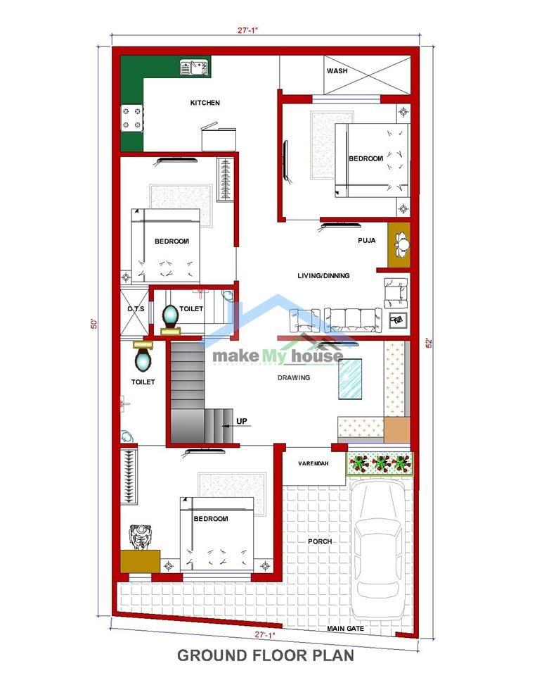 26 50 House Design Plan 1300 SQFT Floor Plan South Facing Second Floor Plan