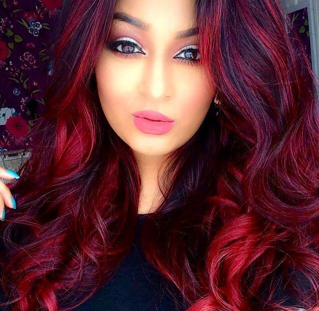Wild red on brown hair | hair | Pinterest | Brown, Hair coloring ...