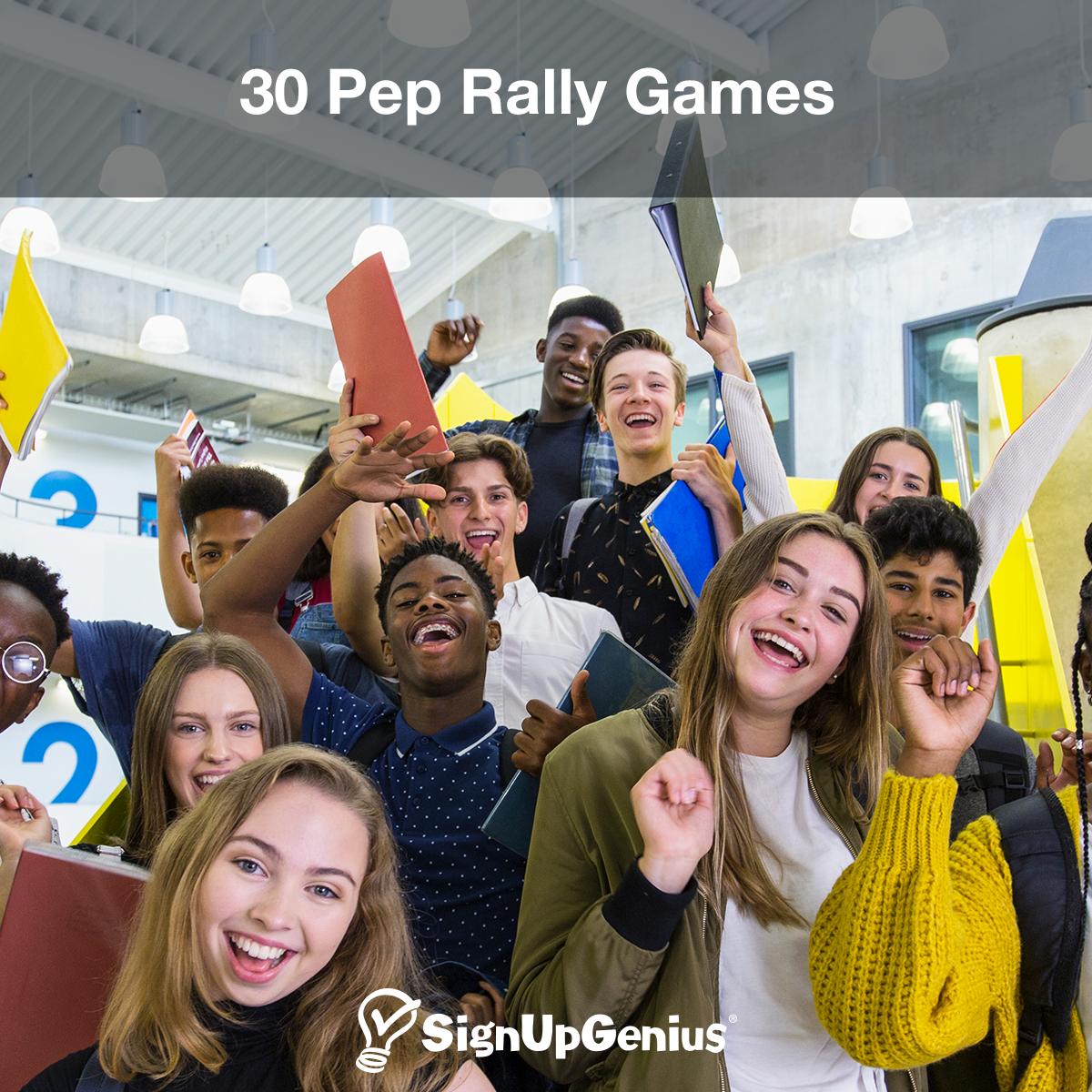 30 Pep Rally Games Pep rally games, Rally games, School