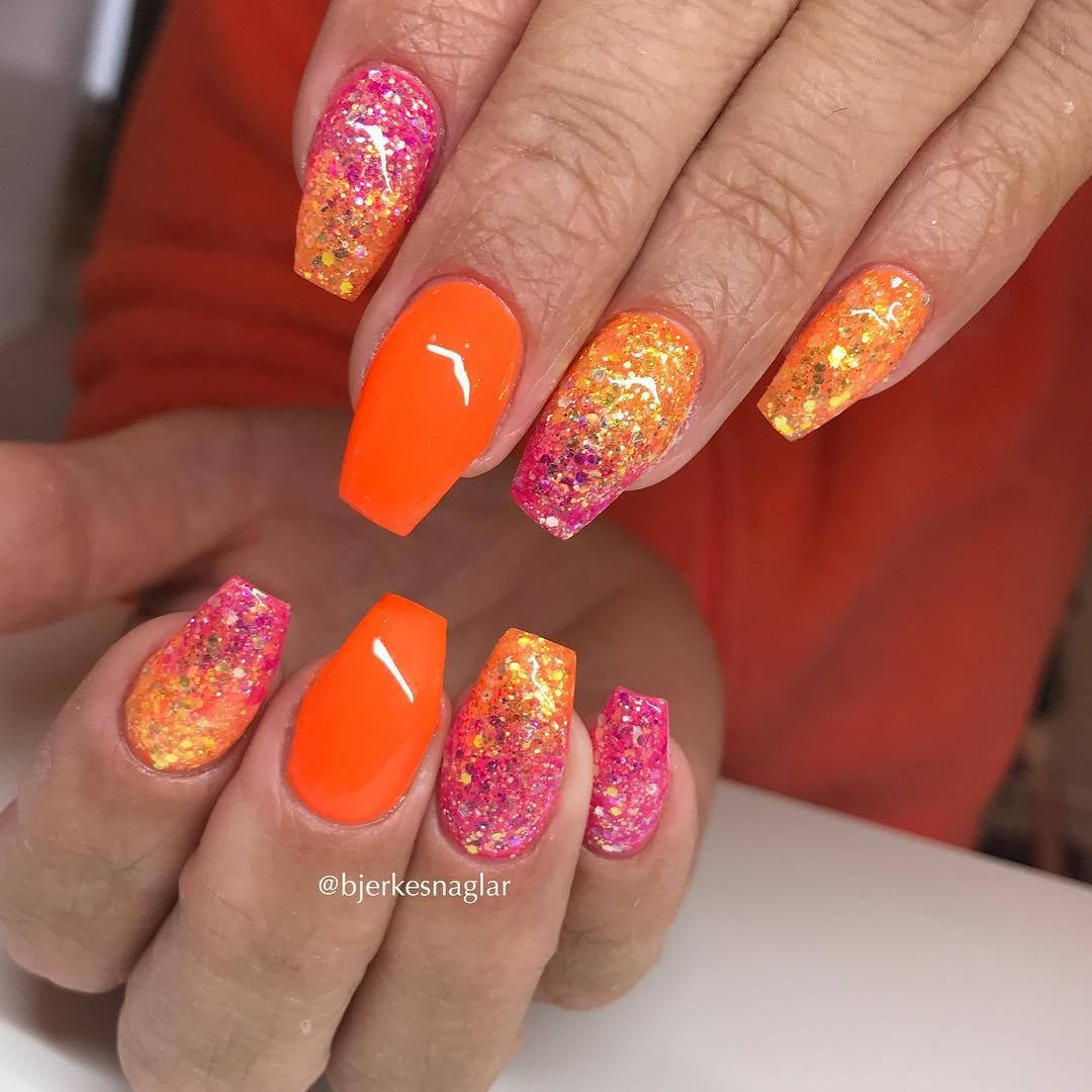 Gel On Natural Nails W Neon Orange And Glitterombre Gel Nail