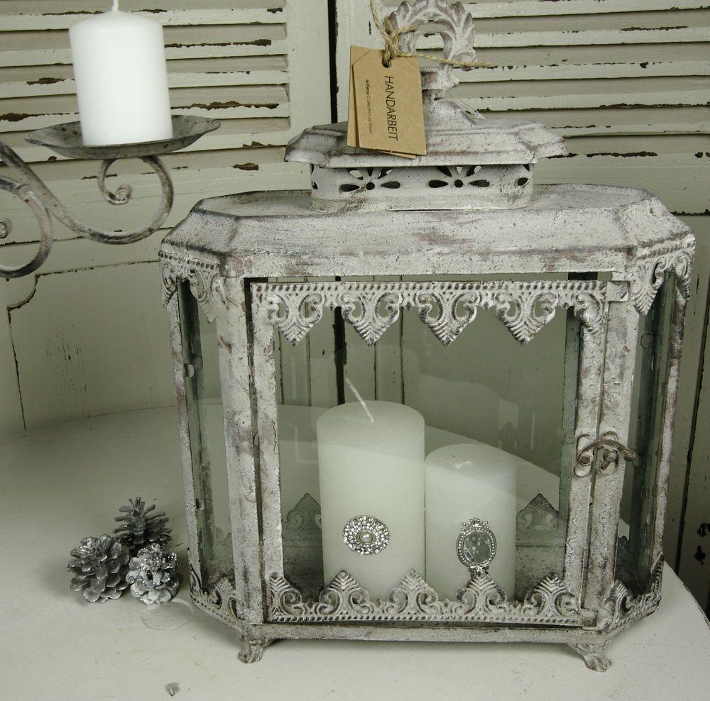Laterne Windlicht Metall Weiß Shabby Vintage Weihnachten: Latrene Metall Patina Grau- Weiß Gewischt Shabby Vintage