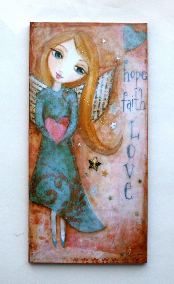 Hope Faith Love Angel Mixed Media Art Print Mounted On By Hrushton
