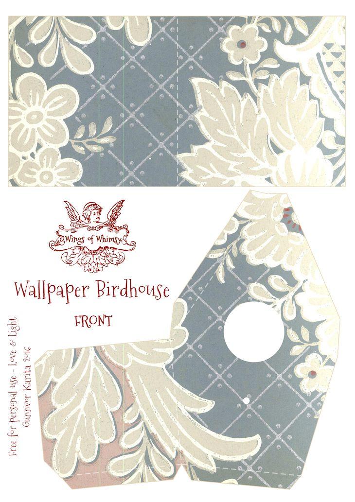 Vintage Wallpaper Birdhouse No 18
