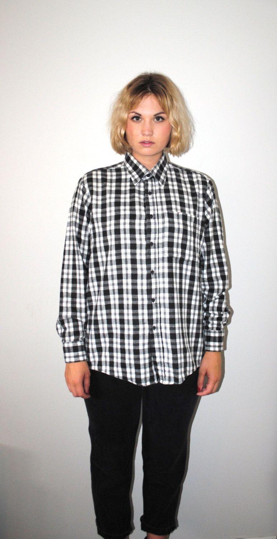 Flannel shirts 1990s  black white plaid flannel shirt s grunge button от OFTNvintage