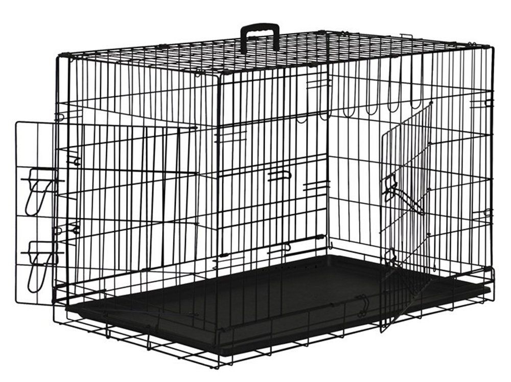 Black Dog Cage Crate Suitcase Folding Animal Kennel Pet Puppy Pen