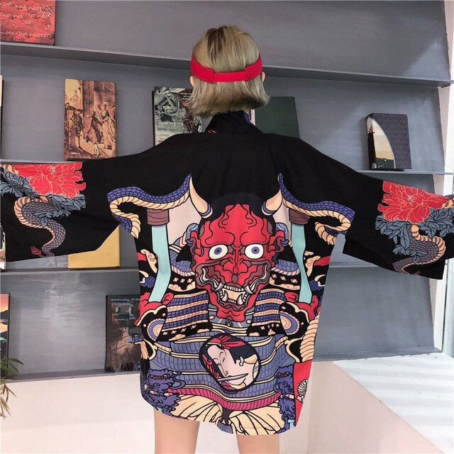 Neploe 2019 été Harajuku chemisier femmes homme Kimono Cardigan japonais dessin animé imprimé hauts lâches Blusas Mujer De Moda 35867 | nabitoo.com   – Fashion