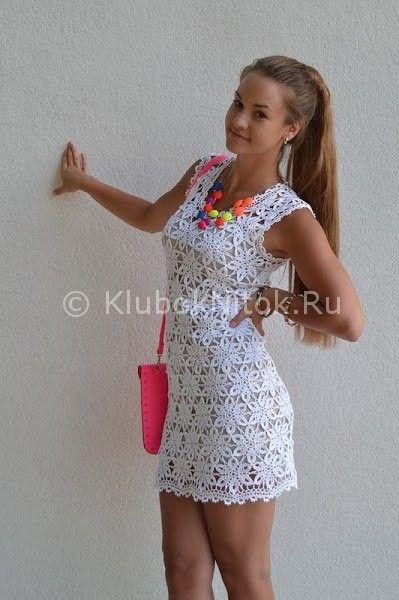 Вязаное платье крючком белое схема