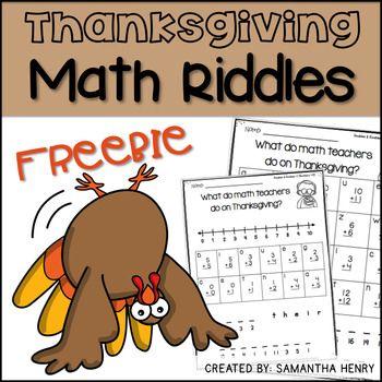 Thanksgiving Math Riddles Freebie Math Riddles Thanksgiving Math Thanksgiving Math Facts