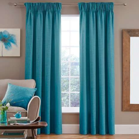 Finished In Rich Teal Blue With A Linen Effect, These Fully Lined Ready  Madeu2026