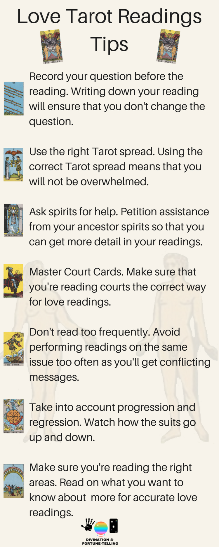 Tarot reading tips for performing love card readings! Here, you will find tips by divination and fortune telling for spreads on relationships, partnerships, self and more! Deck and art is The Rider Waite Tarot. Advice for beginners just learning the meanings or a pro!