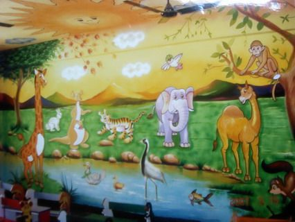 Funny animals jungle cartoon wall stickers murals for for Easy mural painting