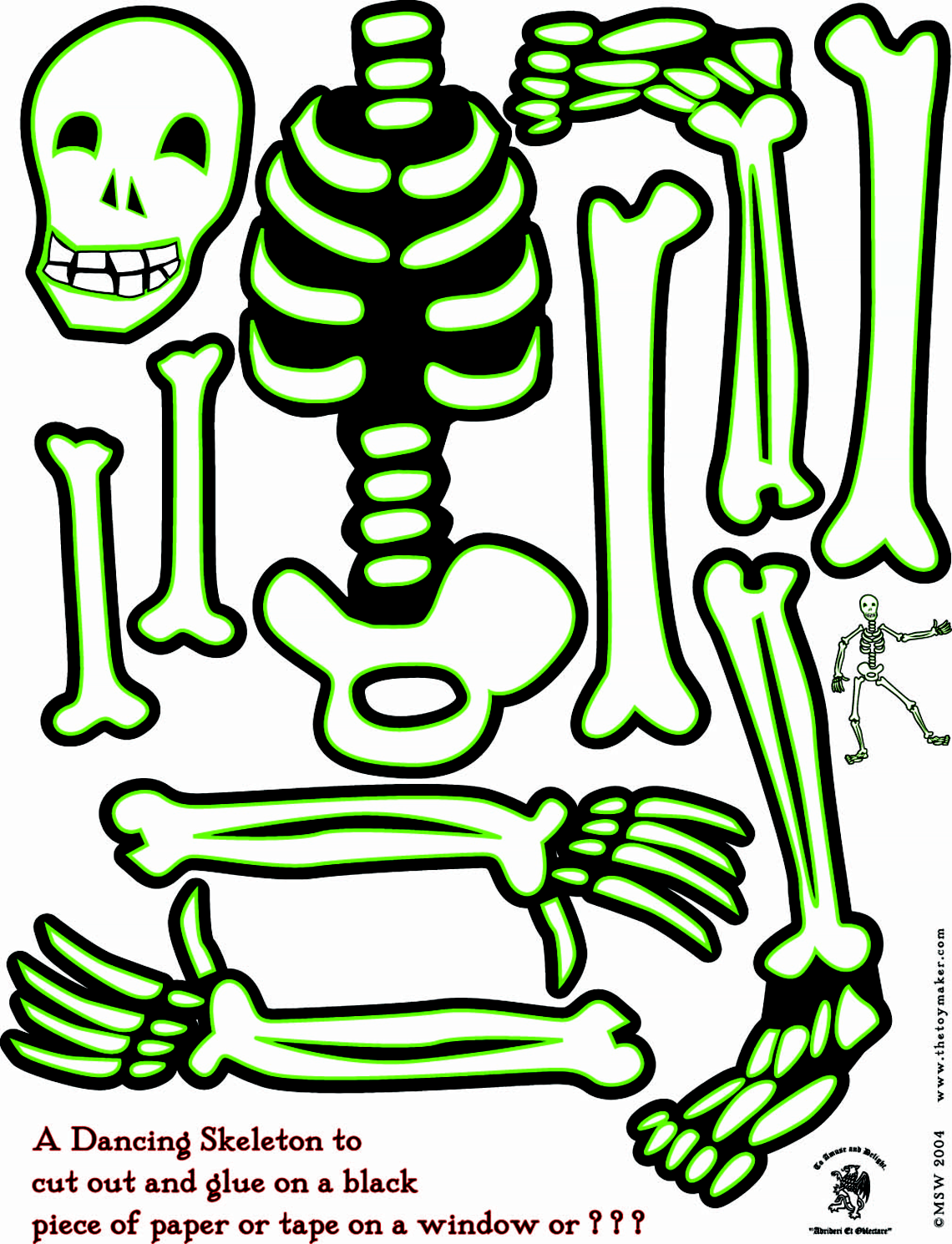 Large Skeleton Cut Out | Dancing Skeleton to _ cut out and glue on a ...