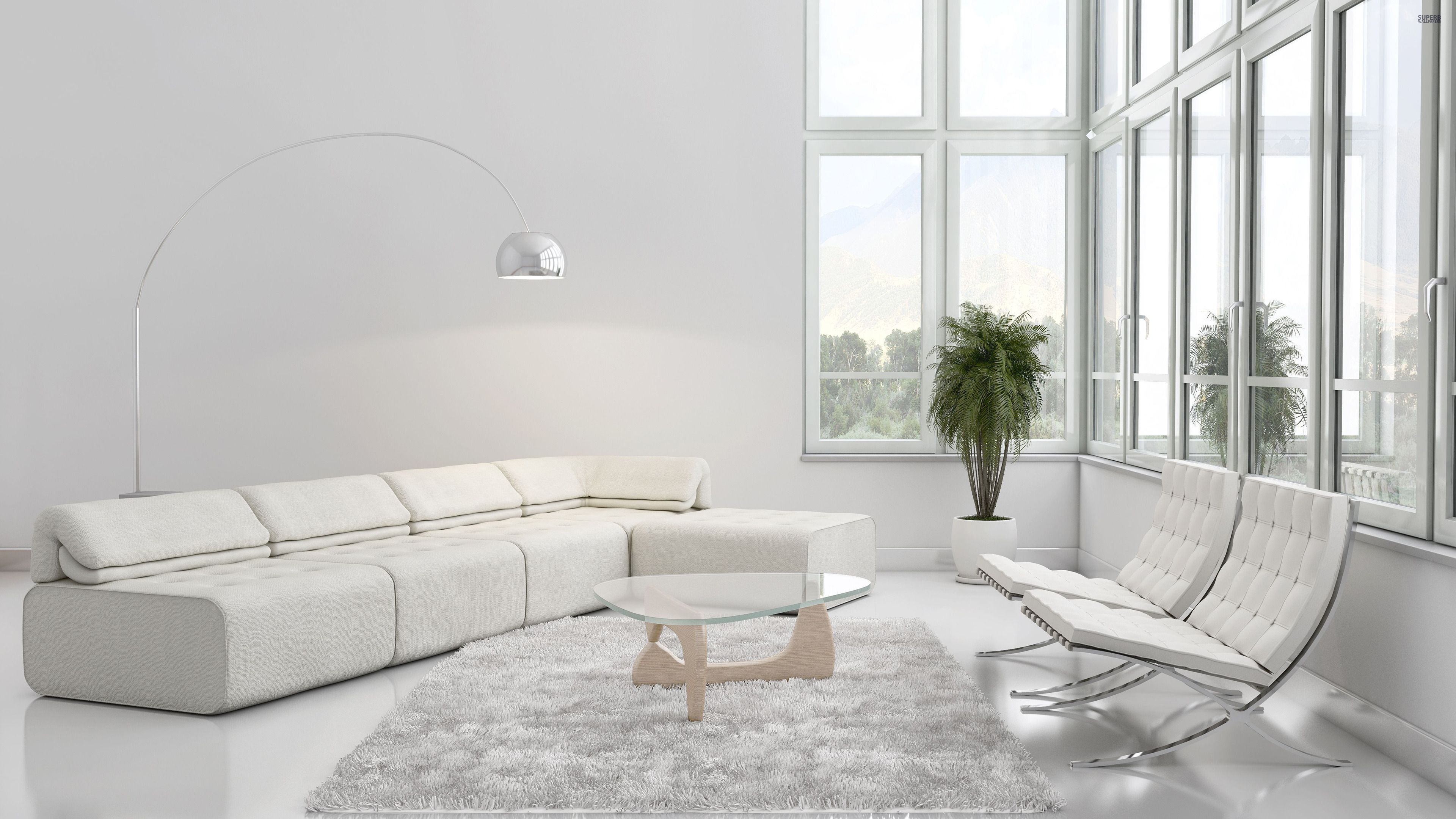 Cozy Living Room Set with White Wall Paint Color and L Shaped ...
