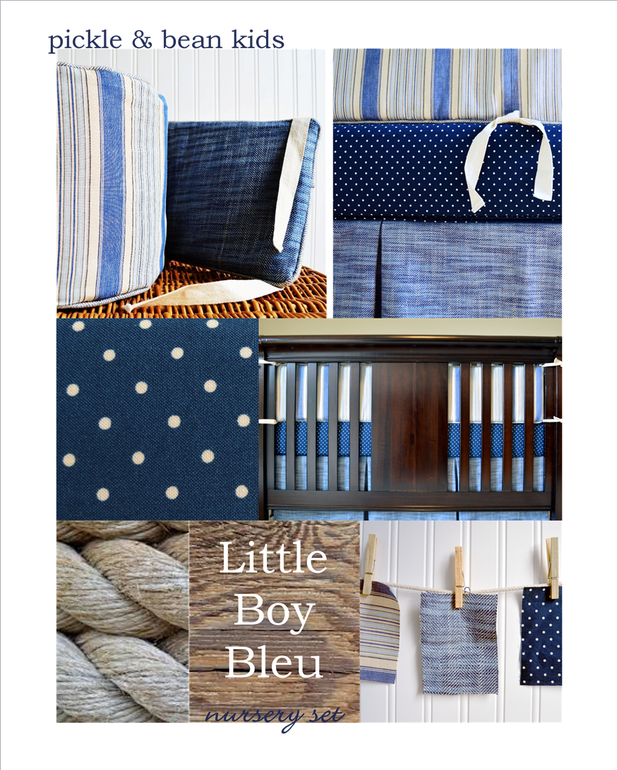 Little Boy Bleu nursery set pickle and bean kids shop on Etsy handmade and one of a kind