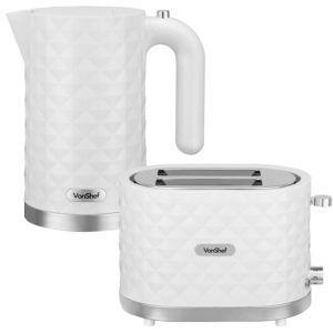 vonshef white diamond kettle and 2 slice toaster set free. Black Bedroom Furniture Sets. Home Design Ideas