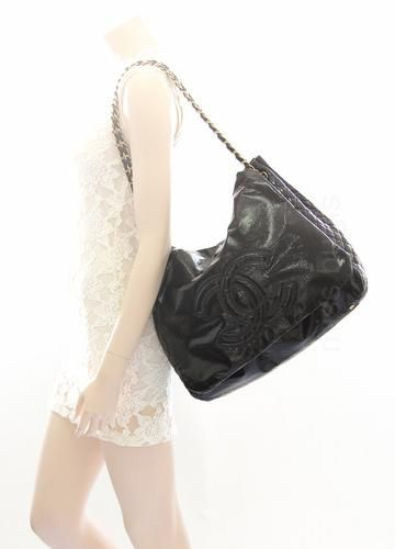 4d0b692f3a6f Chanel Black Rock And Chain Patent Leather XL Flap Bag | Lollipuff ...