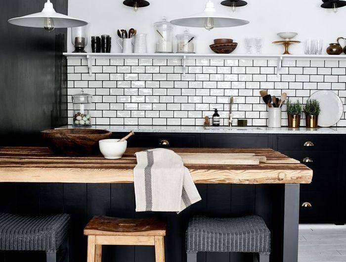 1001 Idees Deco Pour Amenager Une Cuisine Style Industriel Cuisine Moderne Armoires De Cuisine Noirs Cuisine Grise Et Bois