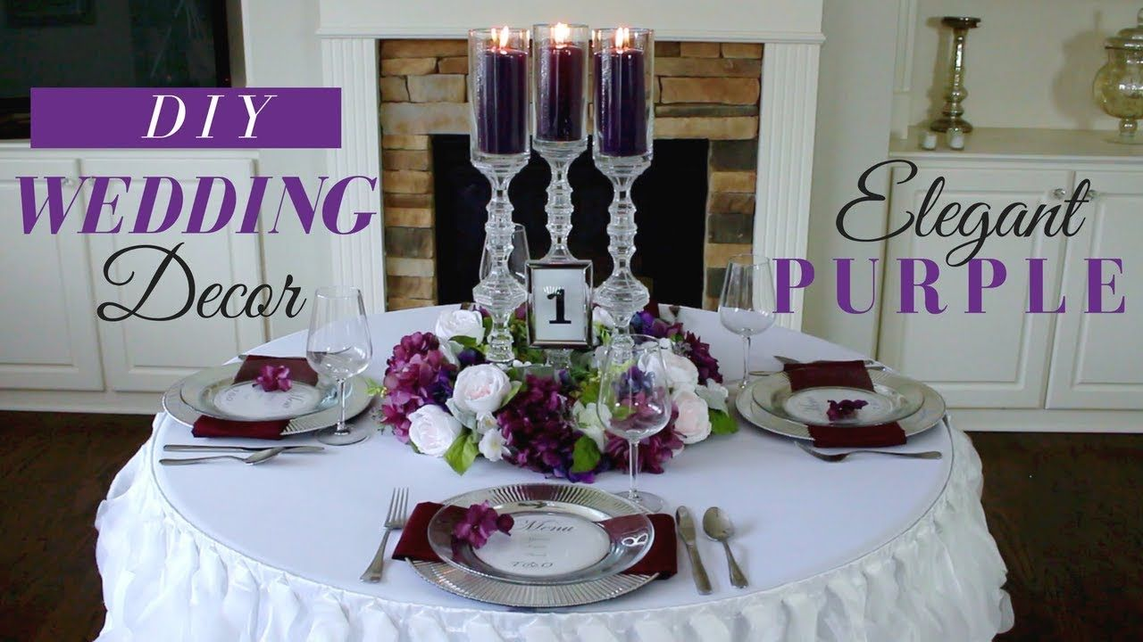 Diy elegant wedding reception decoration purple wedding