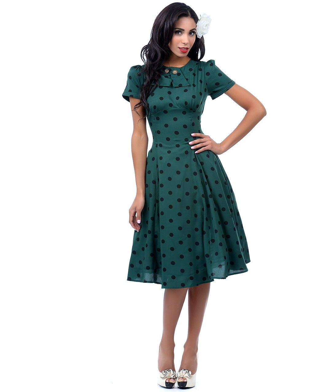 Hunter green u black polka dot madden swing dress wishlist