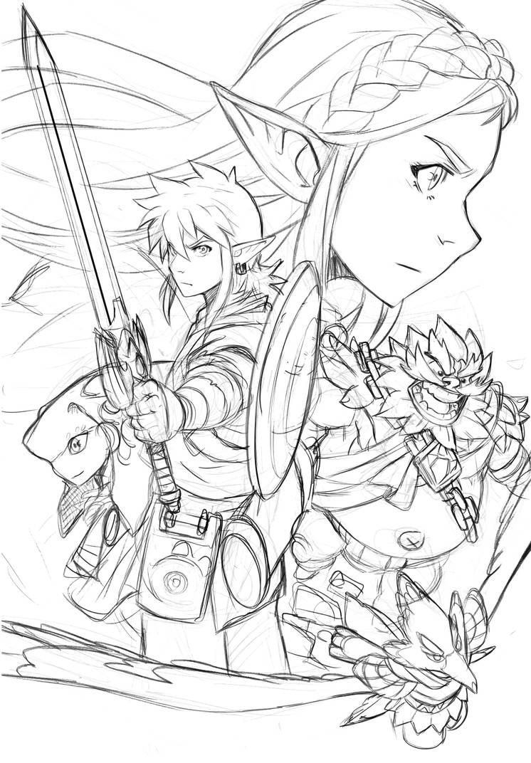 Zelda Breath Of The Wild - [Sketched Composition] by loboborges on
