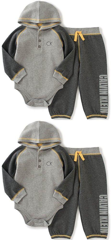 d8eaa0d5280b Calvin Klein Baby Boys  Hooded Bodysuit with Pants Set