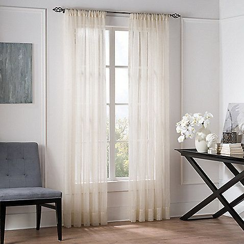Valeron Natural Sheer 84 Inch Window Curtain Panel In Linen Window
