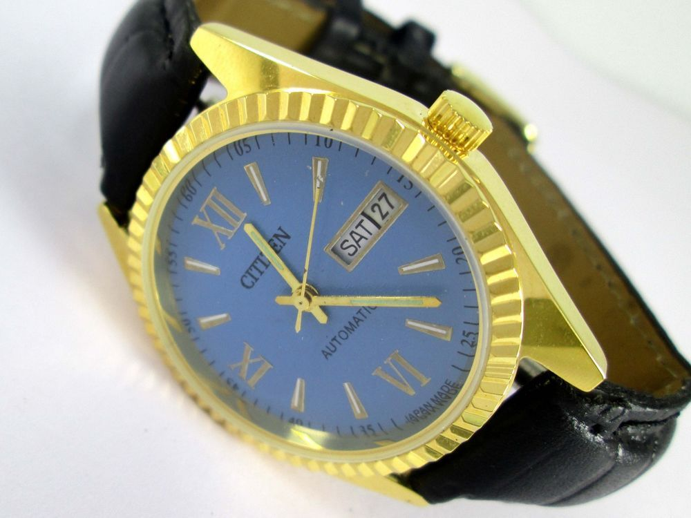 0857b7b7e VINTAGE GOLD PLATED GENTS CITIZEN AUTOMATIC DAY-DATE 21 JEWELS MENS WRIST  WATCH #CITIZEN #Casual