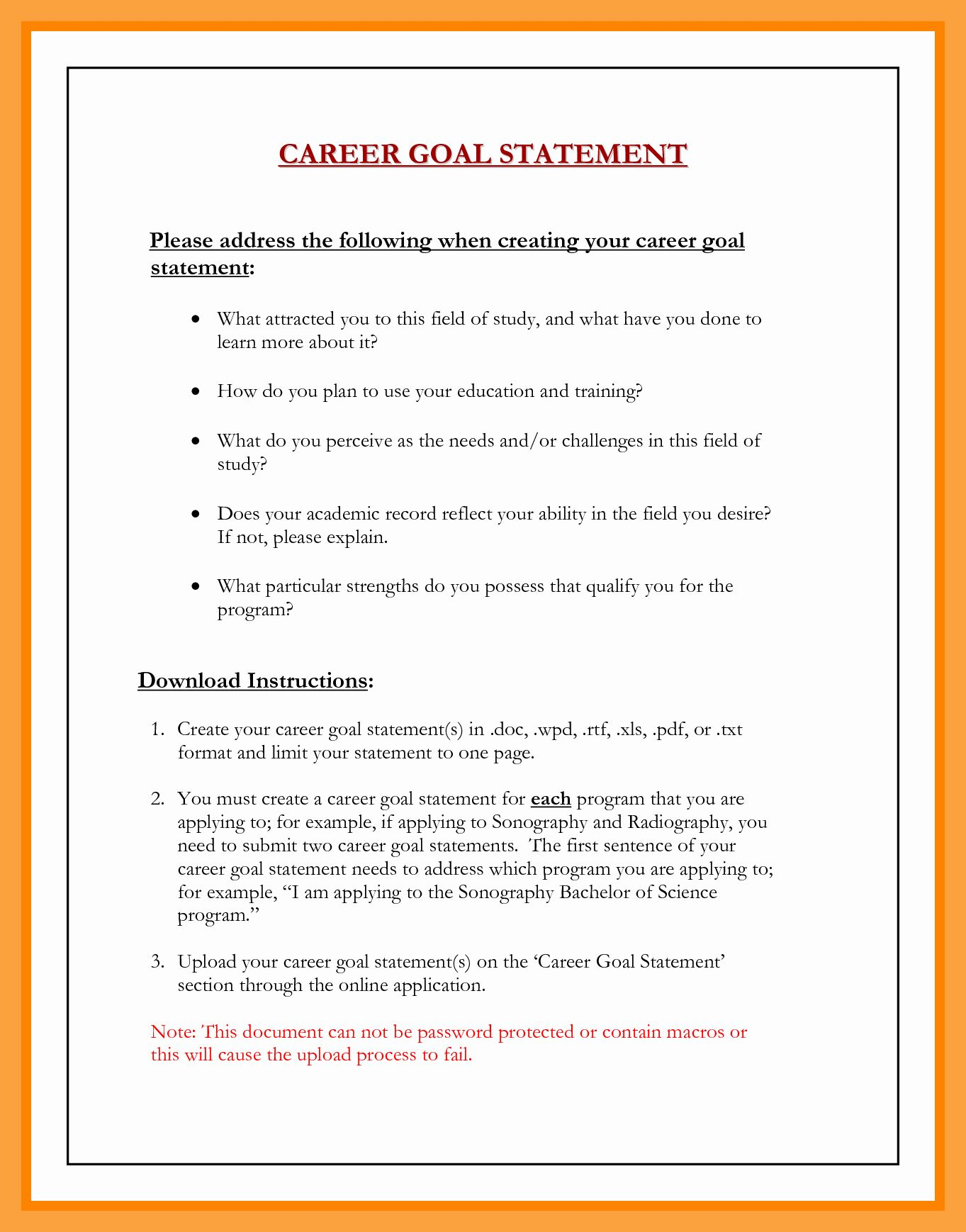 Professional Goal Statement Luxury Career Ay Nursing Example Mba Long Term Personal About Goals
