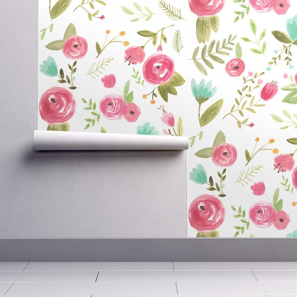 Wallpaper Happy Floral Watercolor Floral Wallpaper Wallpaper