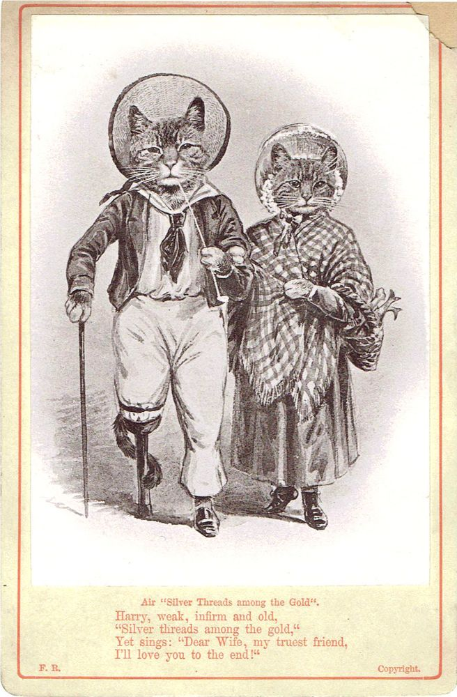 VICTORIAN CHRISTMAS GREETINGS CARD ANTHROPOMORPHIC CATS SILVER THREADS FR