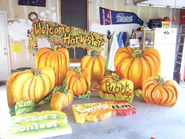 Church Harvest Party  Hot Wire Foam Factory Wonderful 3D pumpkins and harvest sign all carved by Carolyn in Connecticut out of foam So festive and creative what can you b...