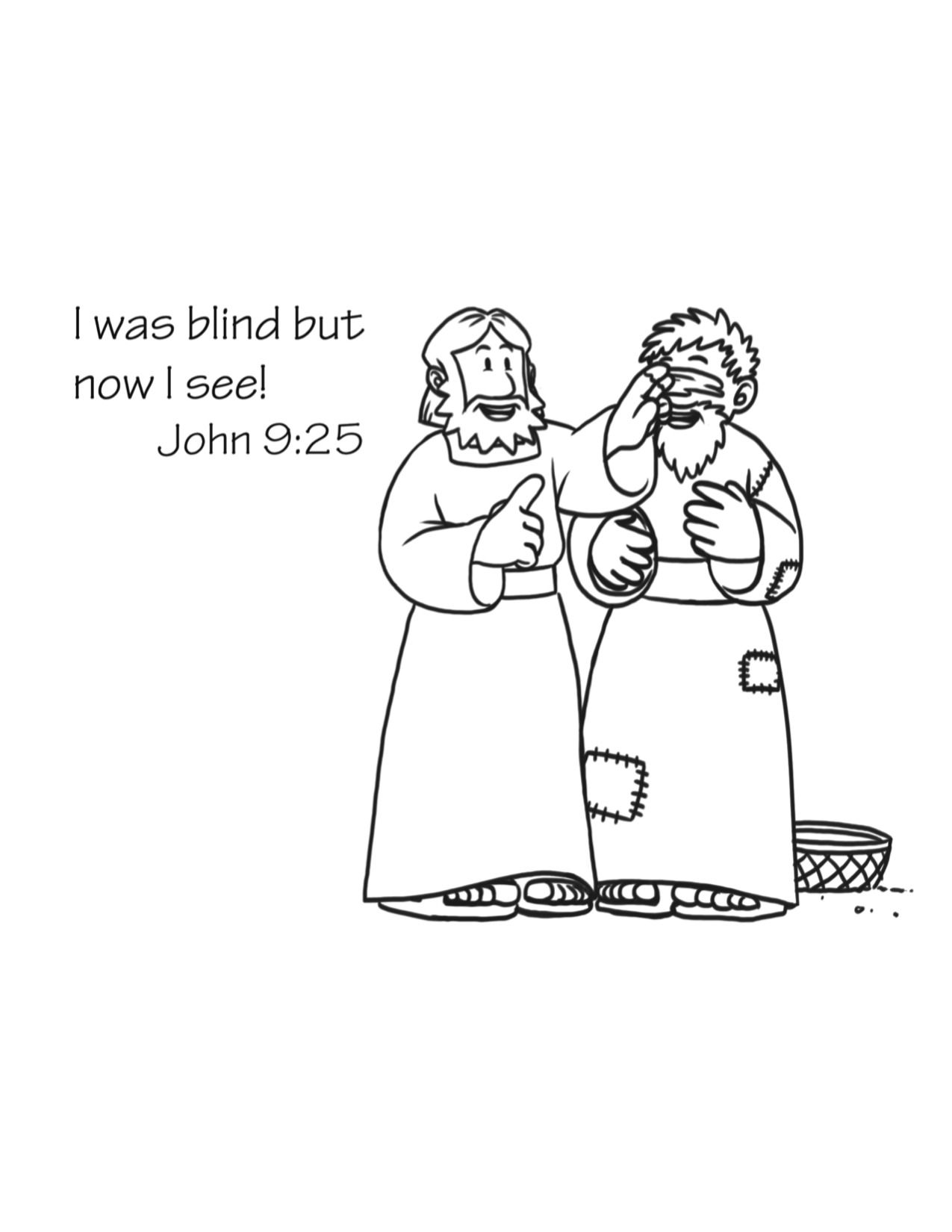 Jesus Heals A Blind Man Coloring Page Free Download Jesus Heals