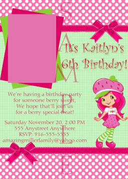 Gingham and polka dot custom strawberry shortcake invitation with or without photo personalization in Simple * Lovely * Baby