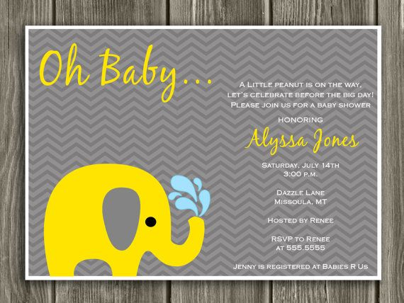 Cute invite, if only it had a little pink.  Yellow and Gray Elephant Baby Shower by DazzleExpressions on Etsy, $15.00