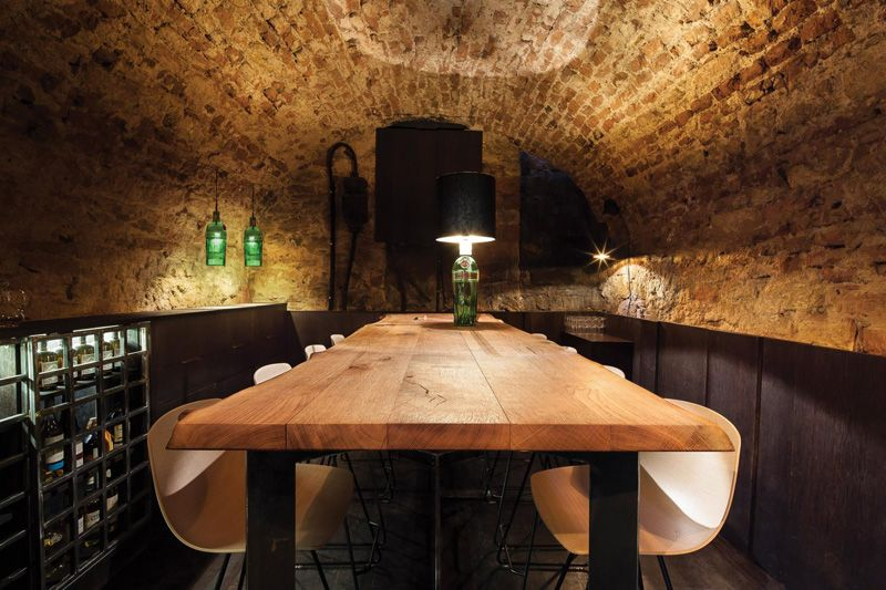 Rustic Table Stone Arch Cellar Via Contemporist This Bar In The Narrowest Building In Frankfurt Is Only 183 Squa Cocktail Bar Interior Cozy Bar Bar Interior