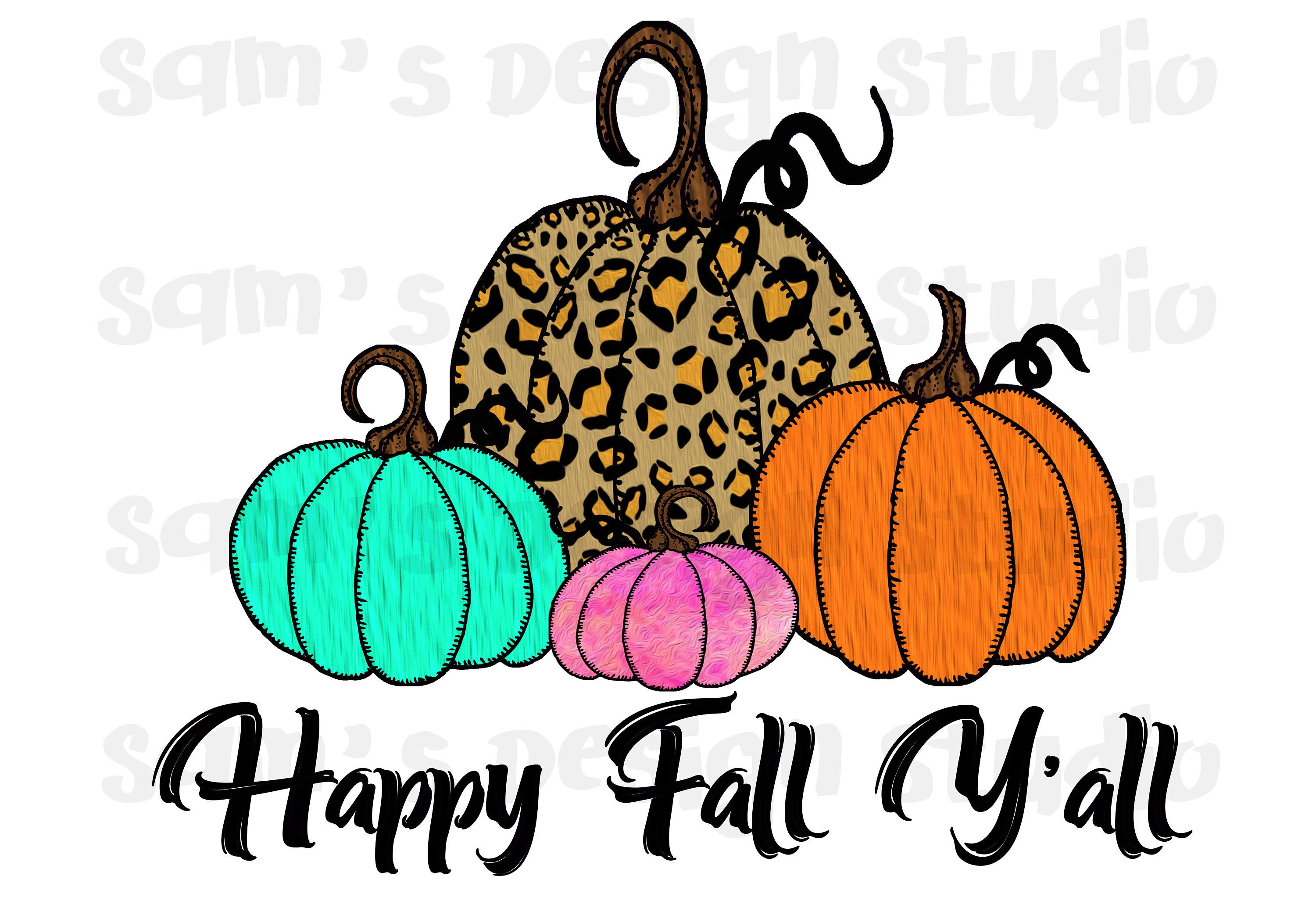 Happy Fall Y'all Sublimation Designs Downloads , Leopard