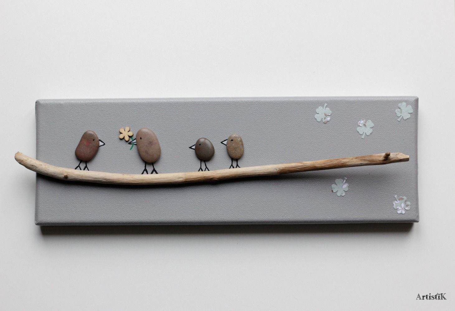 Tableau galets oiseaux bois flott happy family couleurs - Tableau rectangulaire zen ...