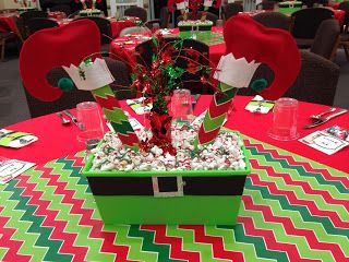 Elf Themed Christmas Centerpiece Christmas Party Table Elf Themed Christmas Party Work Christmas Party