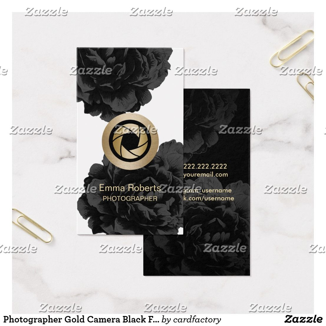 Photographer Gold Camera Black Floral Photography Business Card ...