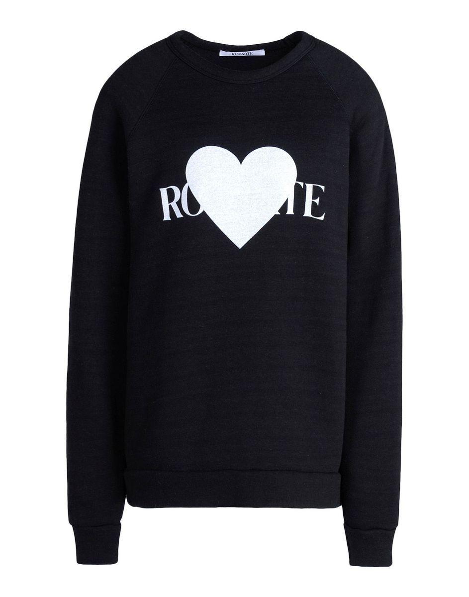 Rodarte Rohearte Heart Graphic Sweatshirt Black Crew Neck Sweatshirt Sweatshirts Graphic Sweatshirt Luxury Women Fashion [ 1200 x 943 Pixel ]