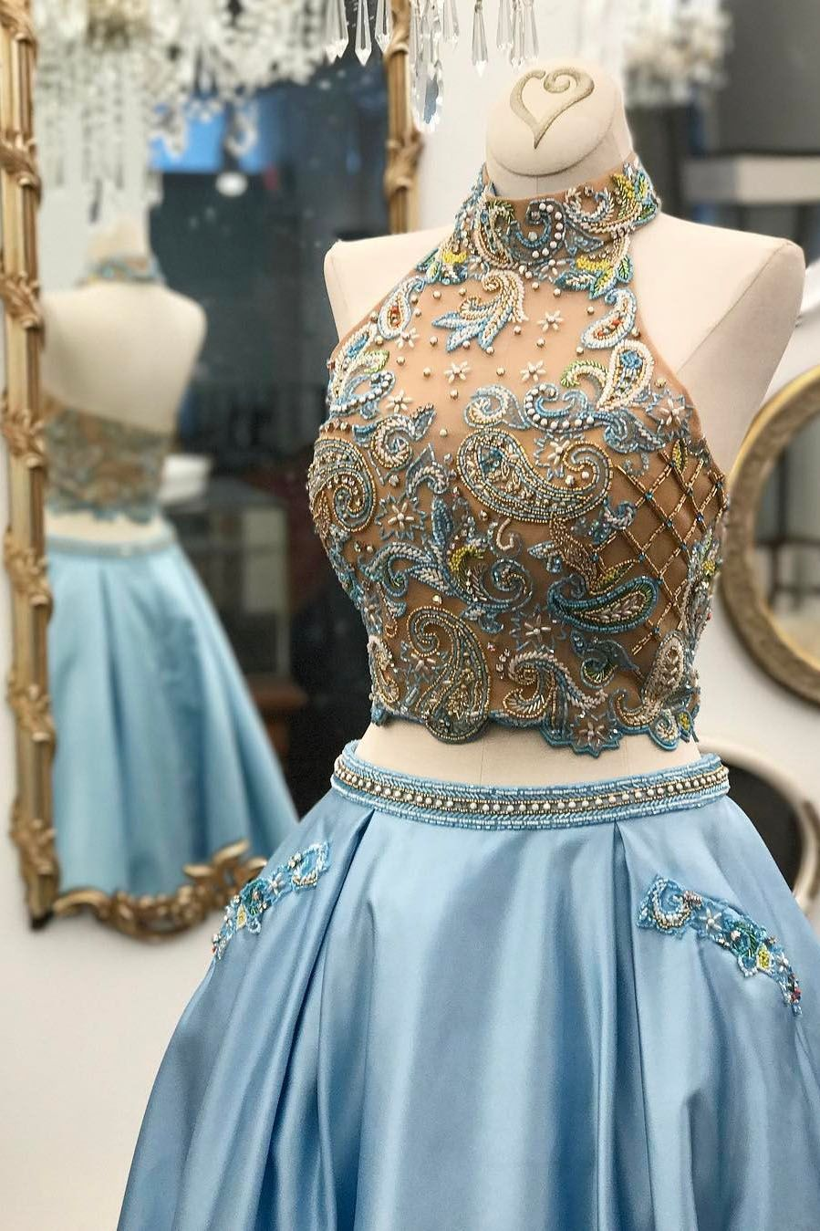 Sparkly Two Piece Beaded Sky Blue Long Prom Dress | Ball Gown ...