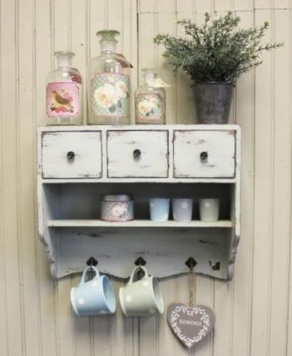 Vintage Chic Cupboard Rustic White Cabinet Shelf 3 Drawers Shabby Kitchen