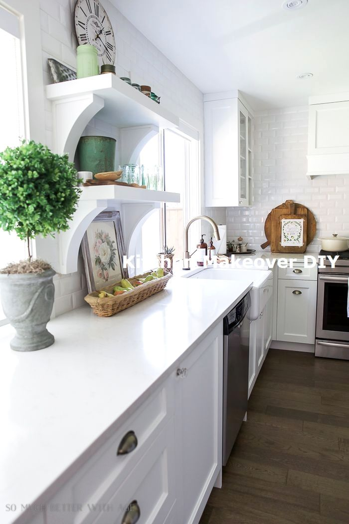 new easy and cheap kitchen makeover diy ideas on a budget diykitchen tile countertops on kitchen island ideas cheap id=80357