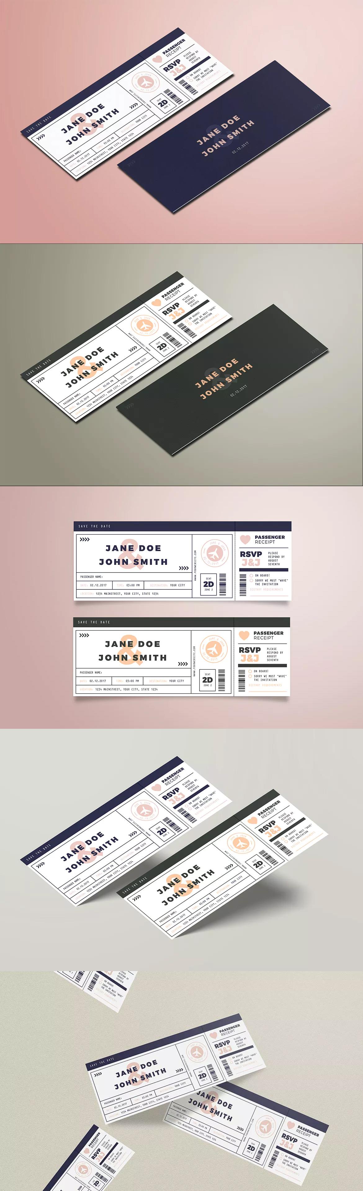 boarding pass wedding invitation ai psd card invite design