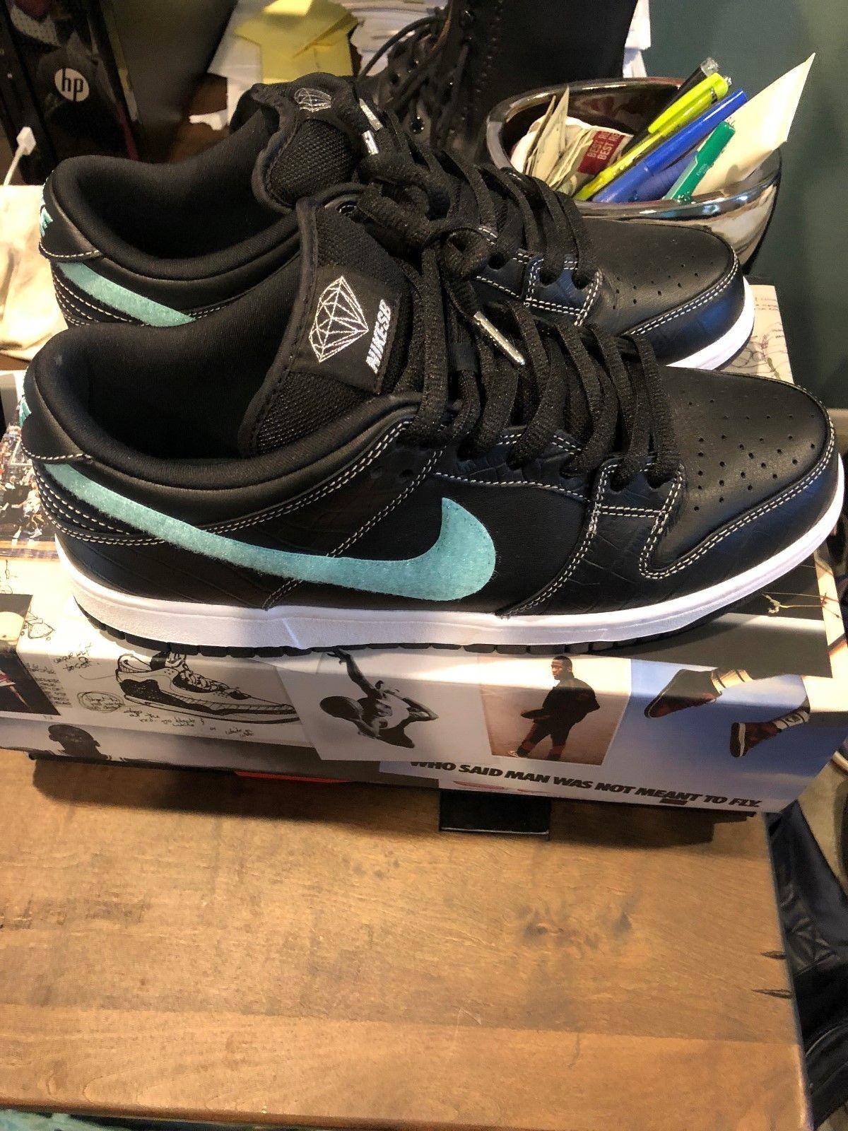 Nike Sb Dunk Low Pro Diamond Supply Co Og Qs Black Size 9 5