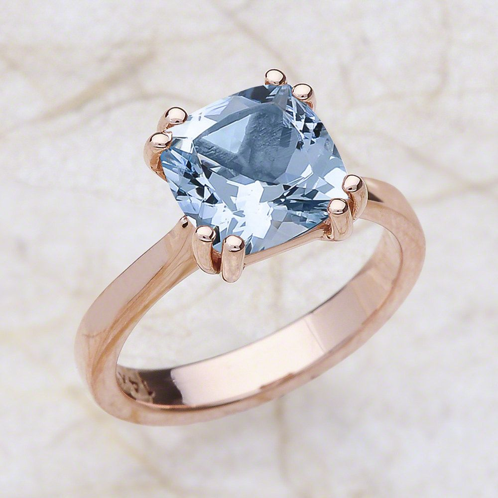 Aquamarine Engagement Ring Rose Gold March Birthstone