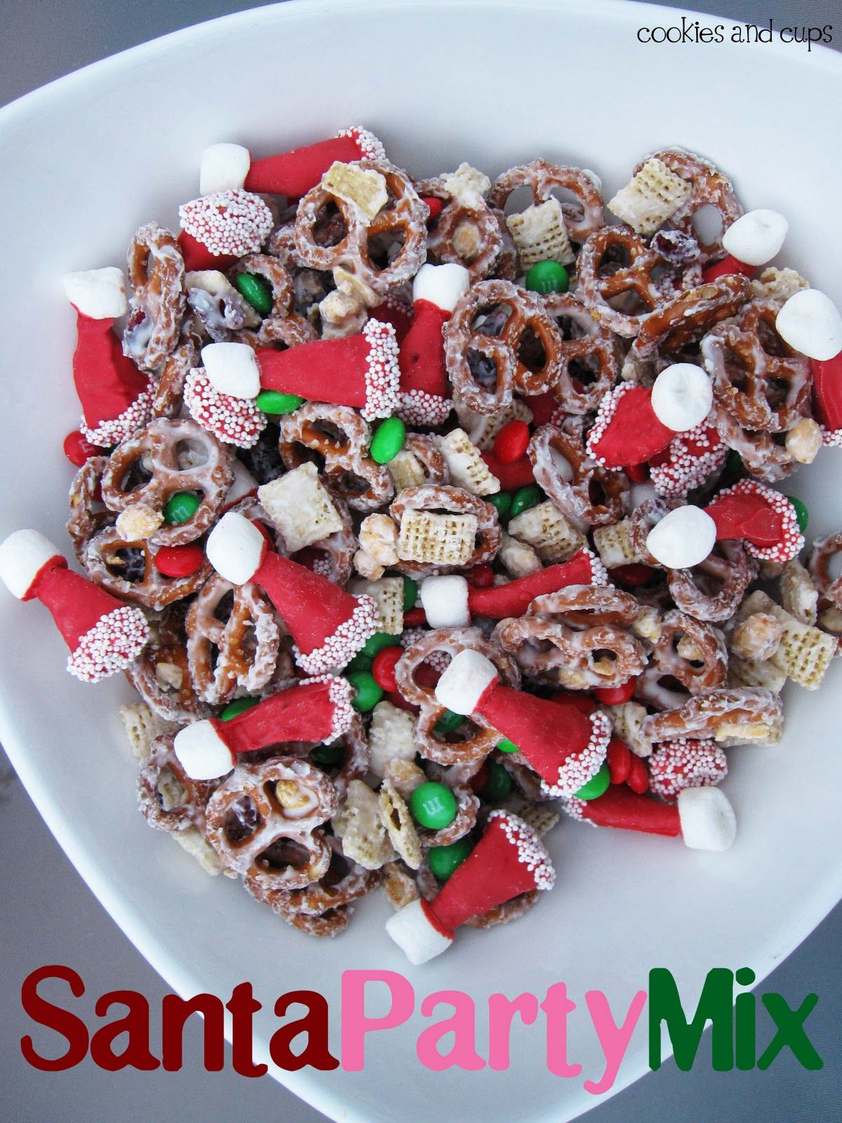 Santa Hat Party Mix Christmas GoodiesChristmas PartiesChristmas TimeChristmas Snack MixChristmas RecipesChristmas