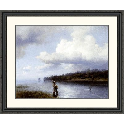 Global Gallery 'Fly Fishing' by Hermann Herzog Framed Painting Print Size: